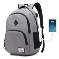 AUGUR Unisex Laptop Backpack 15.6 inch College School students Book Bag Travel Water Resistant Daypack (Grey)