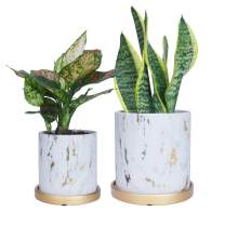 "LOVOUS Flower Pots 5.5""+ 4.3"" Modern Planters Marble Ceramic Garden Plant Pots with Drainage Hole and Saucers for Indoor Flowers, Cactus, Orchid, Succulents Planting, Set of 2"