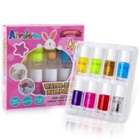 Airdom Kids Nail Polish Set- Non-Toxic Water-Based Odorless Peel Off Natural Safe Nail Polish Set Quick Dry Nail Polish Gifts Toys Kit for Girls Kids Toddlers (7 Color + 1 top&Base Coat)