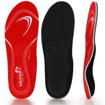 Walkomfy Pain Relief Orthotics, Plantar Fasciitis Arch Support Insoles Shoe Inserts for Maximum Support/All-Day Shock Absorption/Designed for Men and Women (Mens 7-7 1/2 | Womens 9-9 1/2, red-w107a)