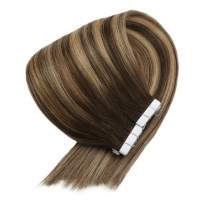 VeSunny Tape in Hair Extensions Balayage 14 Inch Ombre Human Hair Color #4 Fading to #27 Strawberry Blonde Mixed Brown Skin Weft Tape in Human Hair Extensions 20pcs 50g