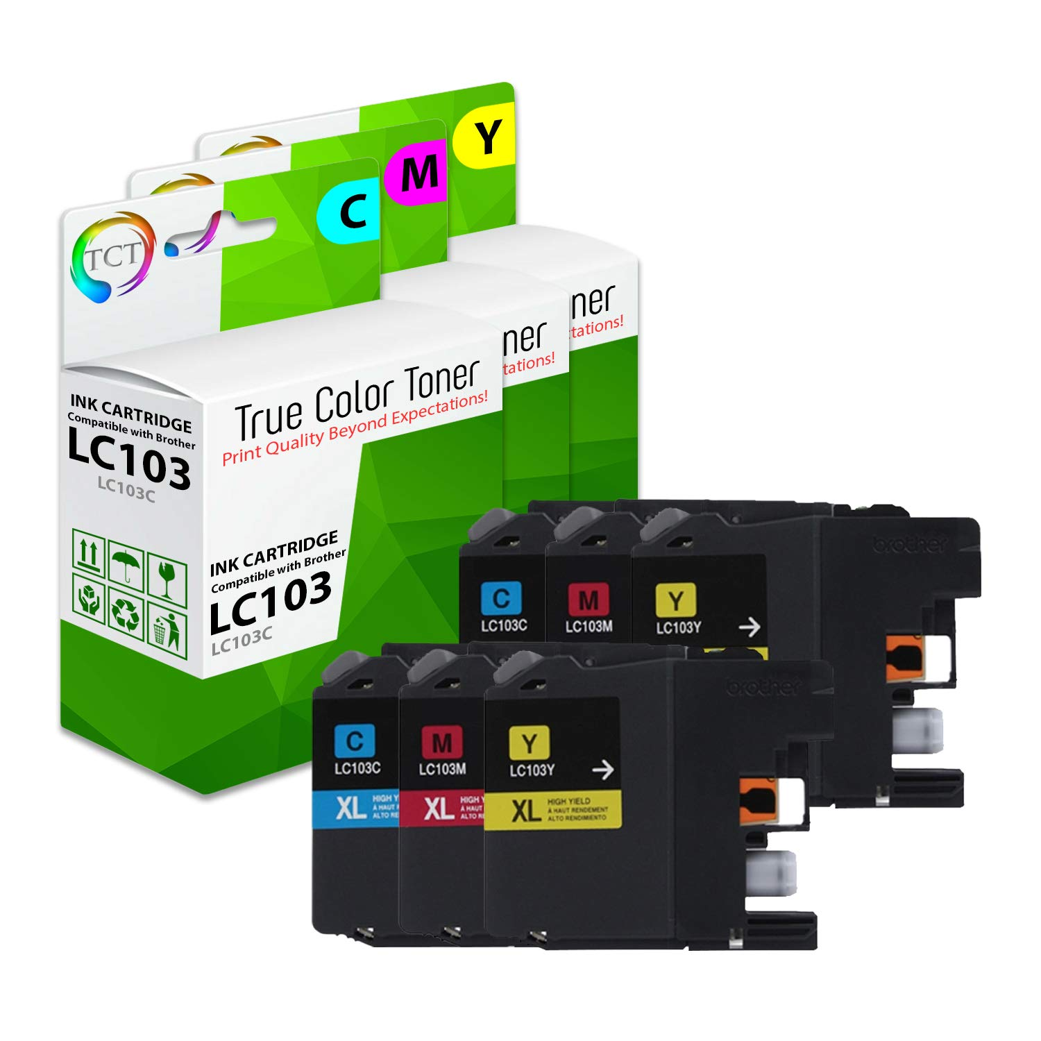 TCT Compatible Ink Cartridge Replacement for Brother LC103 LC103C LC103M LC103Y Works with Brother MFC-J470DW J475DW J6920DW J285DW J870DW Printers (Cyan, Magenta, Yellow) - 6 Pack