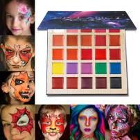DE'LANCI Matte Lipstick Palette Multishade Lip Makeup Palette 25 Colors Professional Body Paint Oil Halloween Face Paint Kit for Kids