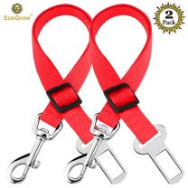 2 Dog and Cat Car Seat Belts, Prevent Stress from Traveling in Crate/Kennel, Allow Breathing Fresh air, No Risk of Pets Jumping Out of The car Accidentally, Adjustable & Supports All Cars
