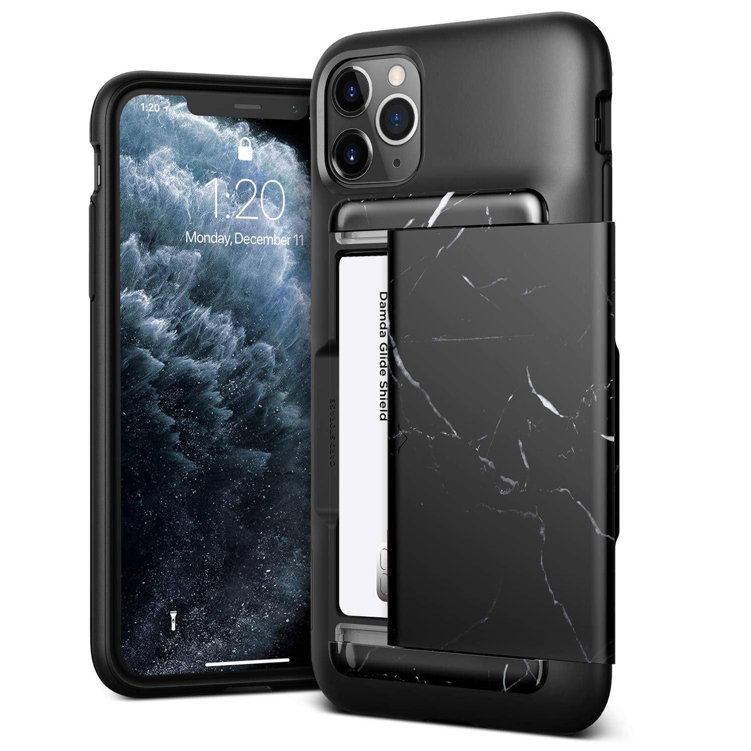 VRS DESIGN Damda Glide Shield Compatible for iPhone 11 Pro Max Case, with [2 Cards] Premium [Semi Auto] Wallet for iPhone 11 Pro Max 6.5 inch (2019) Black Marble