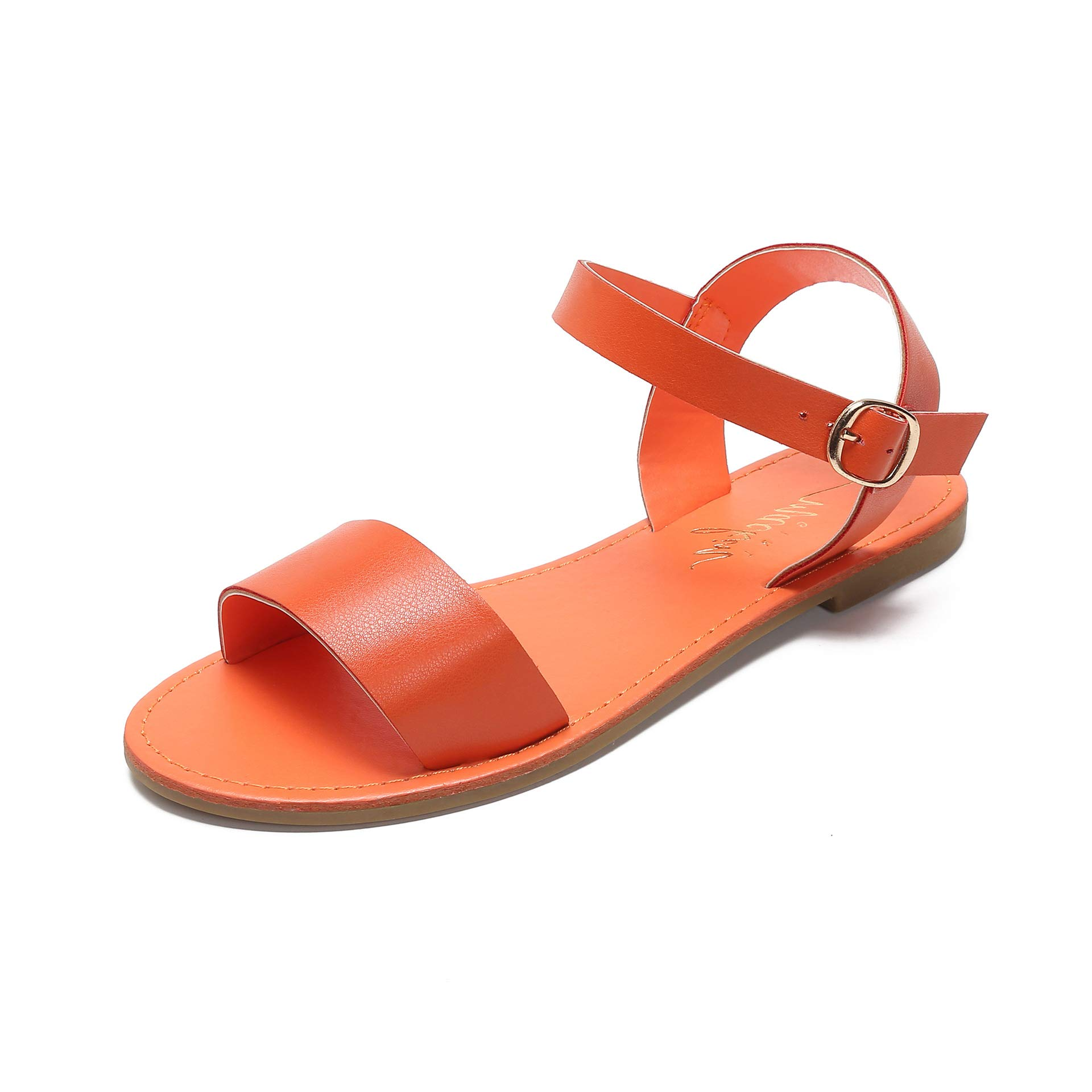 MACKIN J G388-2 Women's Open Toe Flat Sandals One Band Ankle Strap Summer Sandals