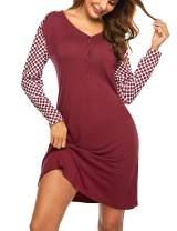Ekouaer Women's Striped Nightgowns Long Loungewear Short Sleeve Nightshirts Sleepwear Soft S-XXL