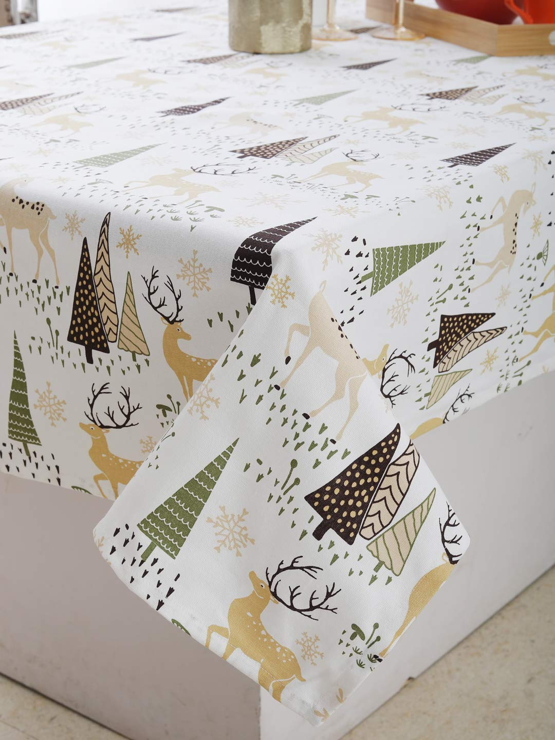 "Plush Home Table Cloth - Reindeer, 100% Cotton, Rectangular Table Cloth of Size 60""X84 Inch, Eco - Friendly & Safe."
