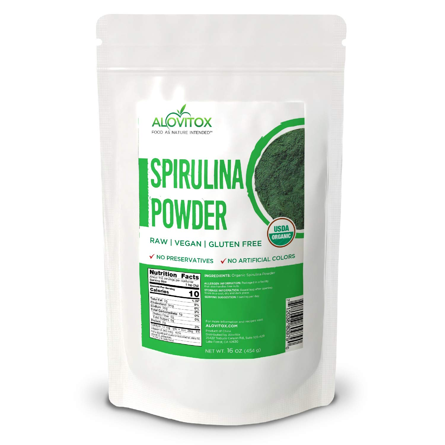 Organic Spirulina Powder | Nutrient Dense Superfood with Antioxidants, Proteins, Vitamin A and Bs,Fiber, Omegas 3, 6 and 9-100% Organic Spirulina Powder No Additives or Colors (1 Pound)