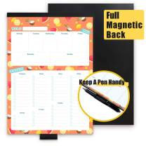 Magnetic Weekly Meal Planner Pad with Pen Holder, Magnet Cover The Entire Back, 10.25 x 7 inches, 60 Sheets, Perforated Tear Off Grocery List for Convenient Shopping, Food Prep Notepad for Fridge