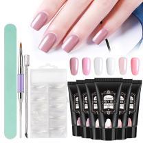 Vrenmol 6pcs White Pink 30ml Poly Gel UV LED Nail Builder Finger Extension Set with Nail Brush Nail Art Kit