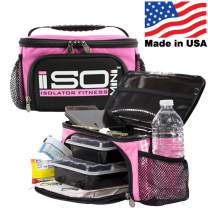 Small Meal Prep Lunch Bag ISOMINI 2 Meal Insulated Lunch Bag Cooler with 4 Stackable/Reusable Meal Prep Containers, 1 Ice Pack ISOBRICK, and 1 Shoulder Strap - Made in USA (Pink)
