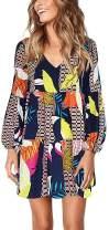 Sherosa Womens Summer Long Sleeve Tunic Dress Ruffle V Neck Swing Shift Dresses