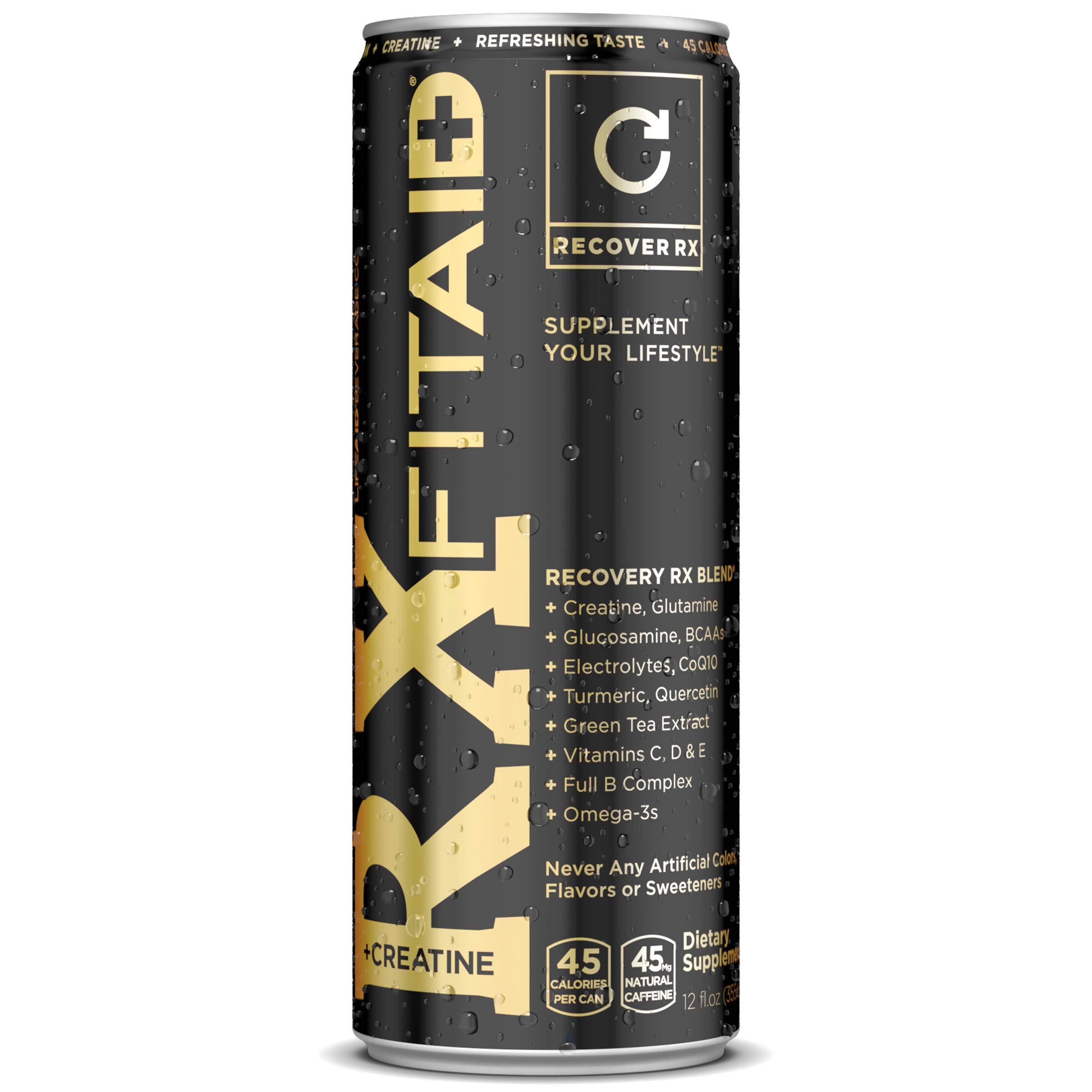 FITAID RX Recovery Blend + Creatine | Contains BCAAs, Glucosamine, Omega-3s, Green Tea | 100% Clean, Paleo Friendly, 12 Fl Oz (Pack of 12)
