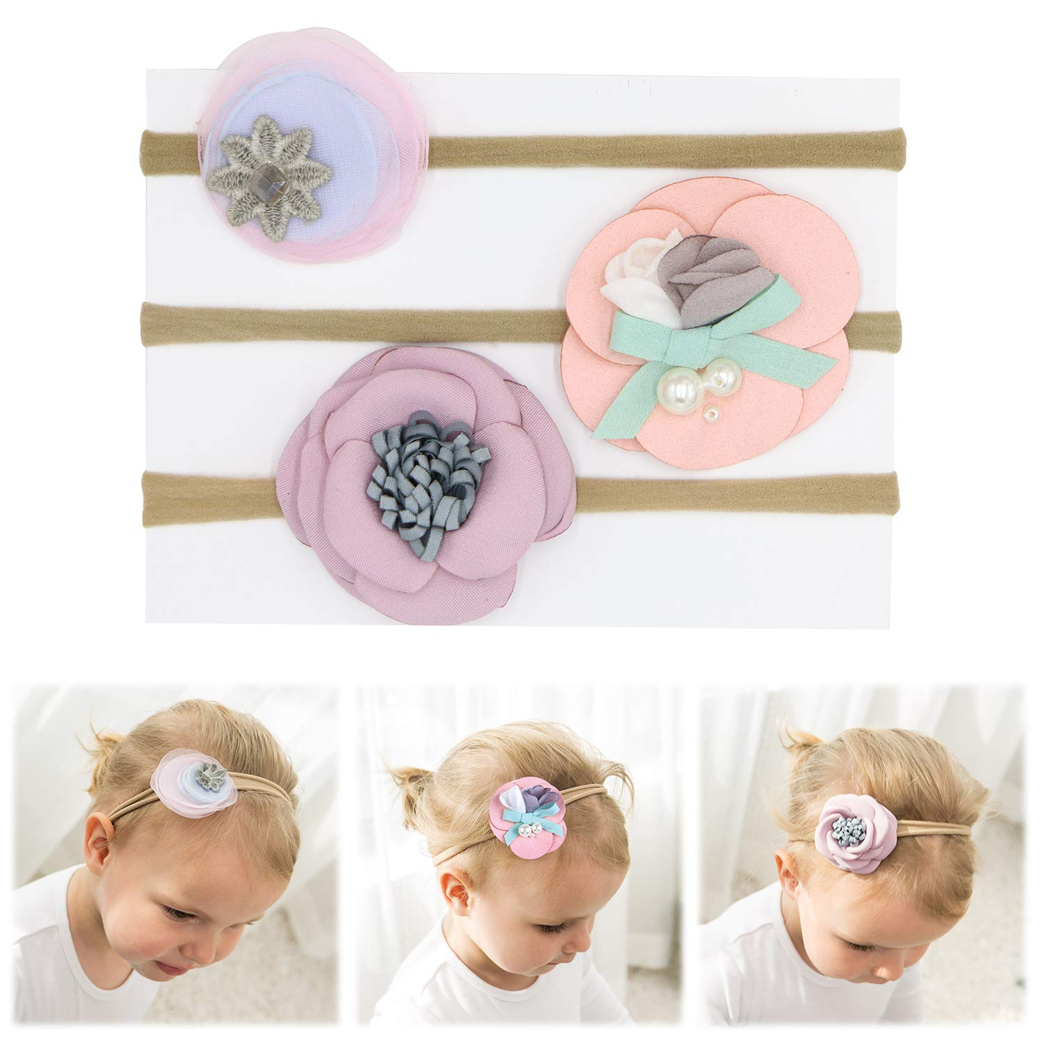 FANCY CLOUDS Baby Girl Headbands with Bows and Flowers,Soft Nylon Knot Hair Accessories for Newborn Infant Toddler Girls (set1)