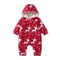 pureborn Unisex Baby Christmas Thicken Hoodie Jumpsuit Fleece Cartoon Deer Winter Outfit