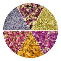 HAIOPS Dried Flowers Soap Making ScentsKits Rosebuds, Lavender, Gomphrena Globosa L, Violet Flower, Marigold and Chamomile, 6 Bags