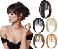 Felendy Clip in Bangs Hair Piece One Piece Thin Fringe Front Neat Air Bangs Extensions with Temple Hand Made