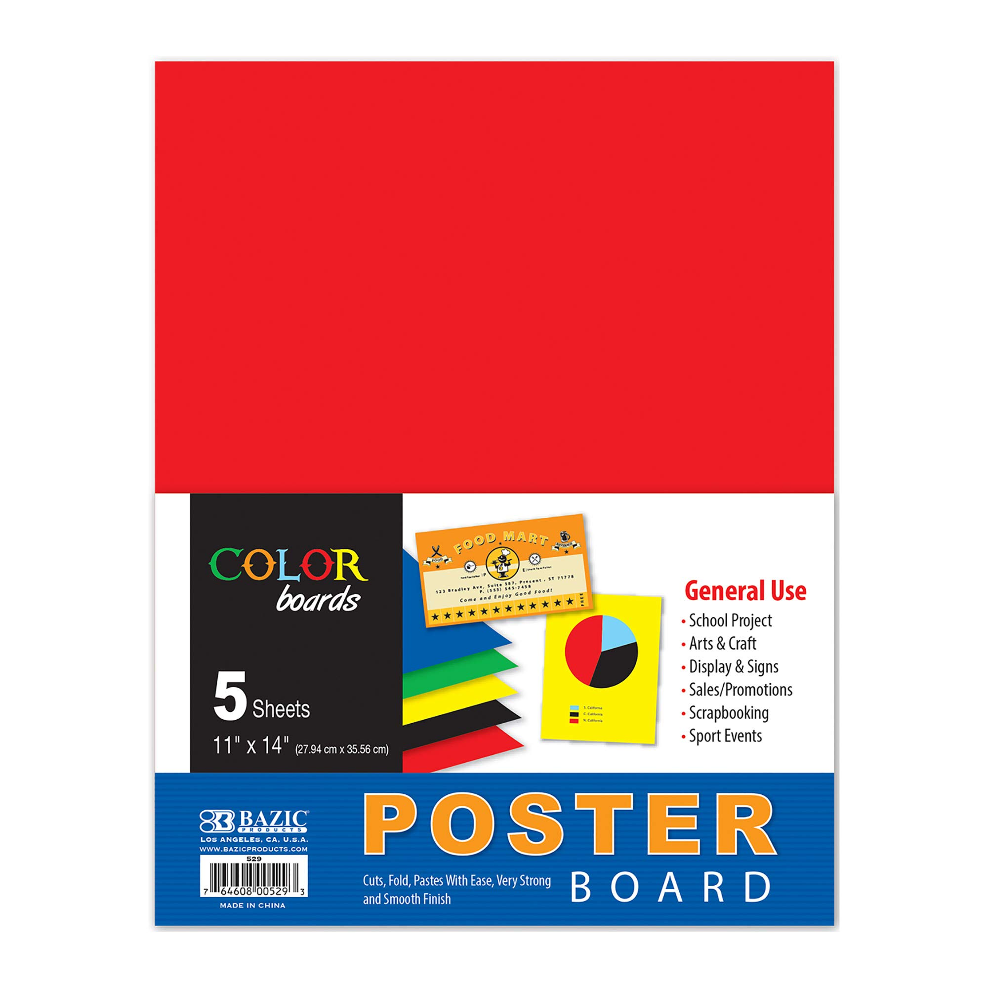 """BAZIC 11"""" X 14"""" Multi Color Poster Board, Assorted Colors Paper Drawing Scrapbooking Display Carton, Art Craft Projects School Home DIY, Red Blue Green Yellow Black (5/Pack)(Case of 48)"""