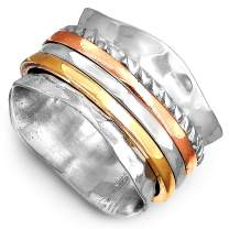 Boho-Magic Spinner Ring for Women 925 Sterling Silver with Copper Brass and Silver Fidget Rings