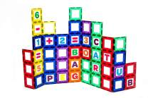 Playmags Magnetic Tile Building Set: Exclusive Educational Clickins – 80-Pc. Kit: 40 Super Strong Clear Color Magnet Tiles Windows & 40 Letters & Numbers – Stimulate Creativity & Brain Development