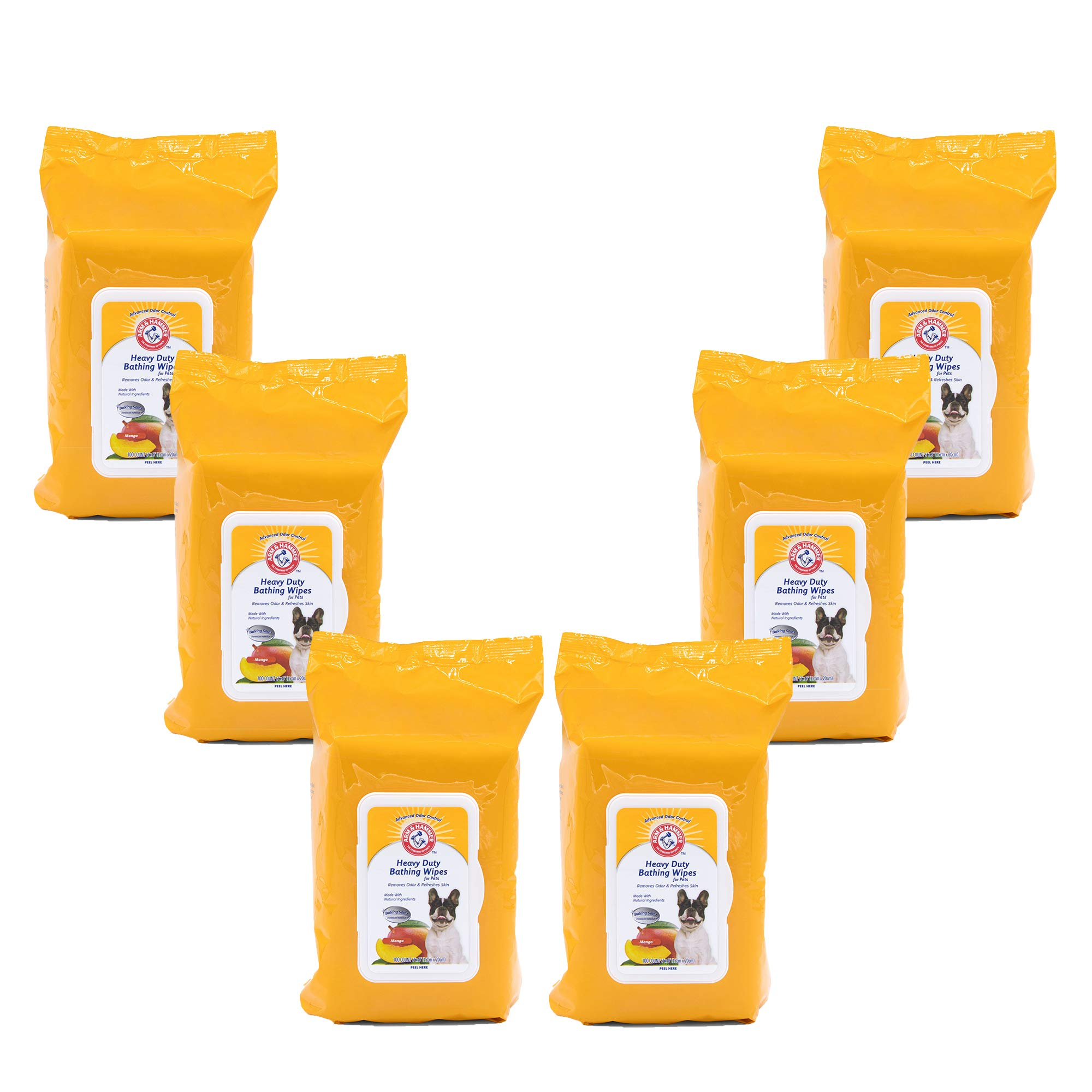 Arm & Hammer Heavy Duty Multipurpose Pet Bath Wipes | Dog Wipes Remove Odor & Refreshes Skin | Mango, 100 Count - 6 Pack