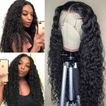 Water Wave Lace Front Wigs Human Hair 100% Unprocessed 13x4x1 Brazilian Wet and Wavy Lace Frontal Wigs 150% Density Wigs for Black Women Human Hair Natural Hairline(18Inch)