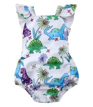 Faithtur Baby Girls Outfit Dinosaur Plant Backless Romper Summer Clothes 0-24 Months