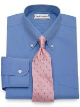 Paul Fredrick Men's Non-Iron 2-Ply Cotton Button Down Collar Dress Shirt