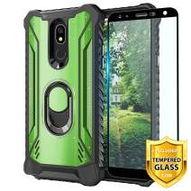 TJS Phone Case for LG K40/K12 Plus/X4/Solo LTE/Harmony 3/Xpression Plus 2, with [Full Coverage Tempered Glass Screen Protector] Aluminum Ring Stand Magnetic Support Built-in Metal Plate Back (Green)
