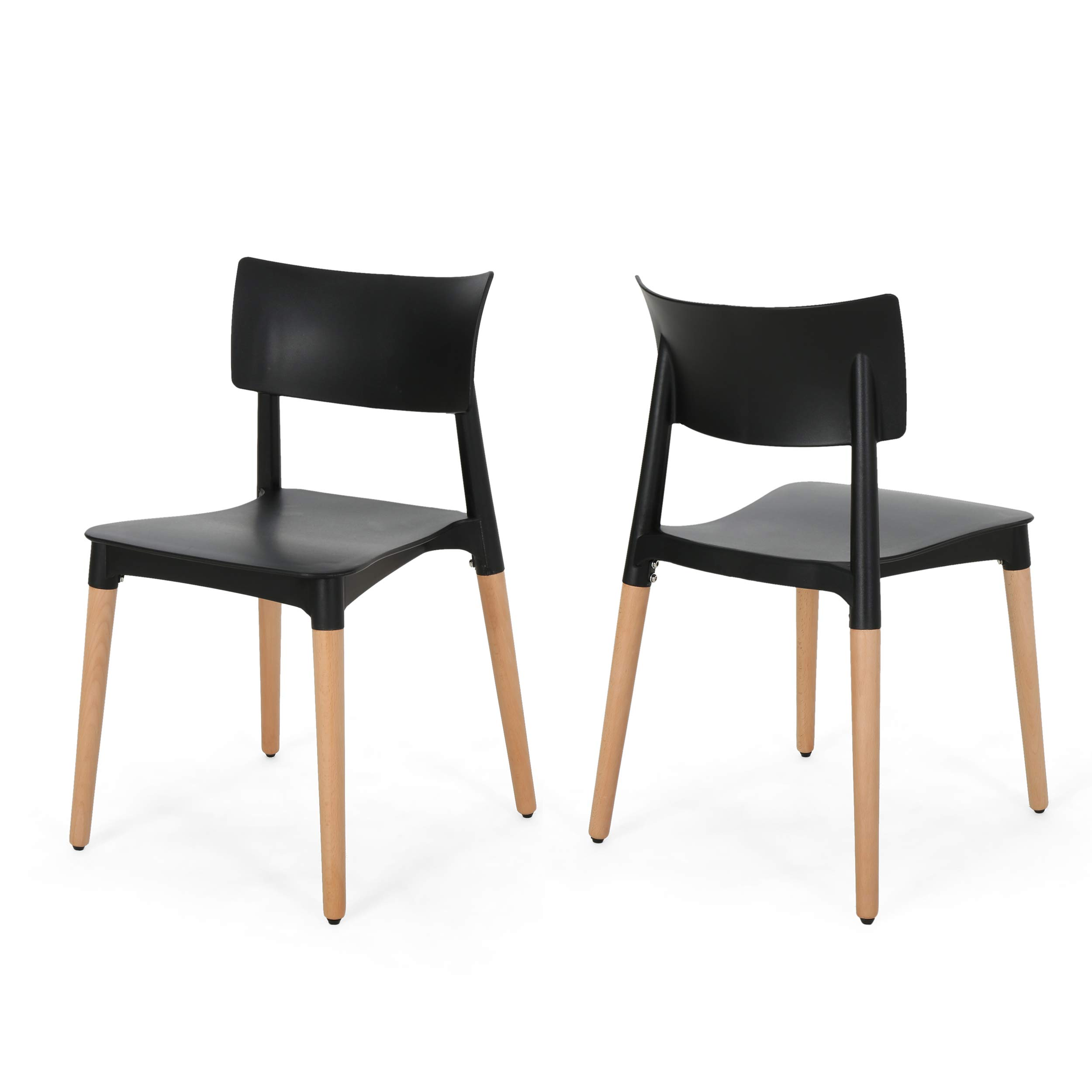 Christopher Knight Home Isabel Modern Dining Chair with Beech Wood Legs (Set of 2), Black and Natural