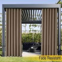ChadMade Extra Wide Grommet Top Curtain for Outside Door Front Porch Pergola Cabana Covered Patio Gazebo Dock and Beach Home Brown, 200Wx102L (1 Panel)