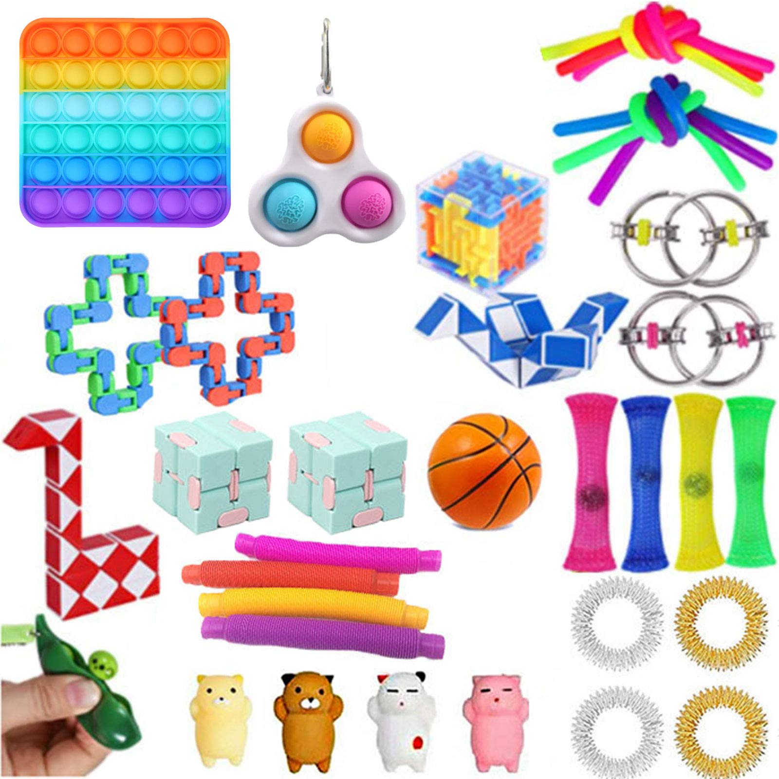 Komoo 31Pcs Fidgets Box, Simple Dimple Fidget Toys, Fidget Toy Packs Cheap, Decompression Keychain Toy, Push Pop Bubble Sensory Toy for Kids and Adults (B)