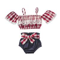 Toddler Newborn Baby Girl Clothes Summer Outfits Short Sleeve Ruffle Shirt Tops+Denim Jean Baby Shorts Set for Girls