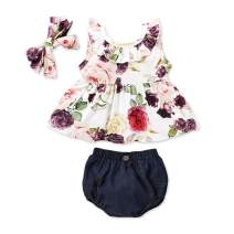 NZRVAWS Infant Girl Clothes Off Shoulder Tops Tshirt Shorts Bottoms with Bowknot Headband Baby Girls Clothes 3PCS Set