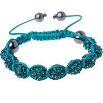 BodyJ4You Disco Balls Bracelet 9 Aqua Beads Pave Crystals Adjustable Wrist Iced Out Jewelry