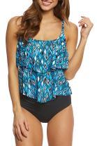 Huiyuzhi Womens Halter Crop Top Bikini High Waisted Two Piece Swimsuits Printing Swimswear Padding Bathing Suit