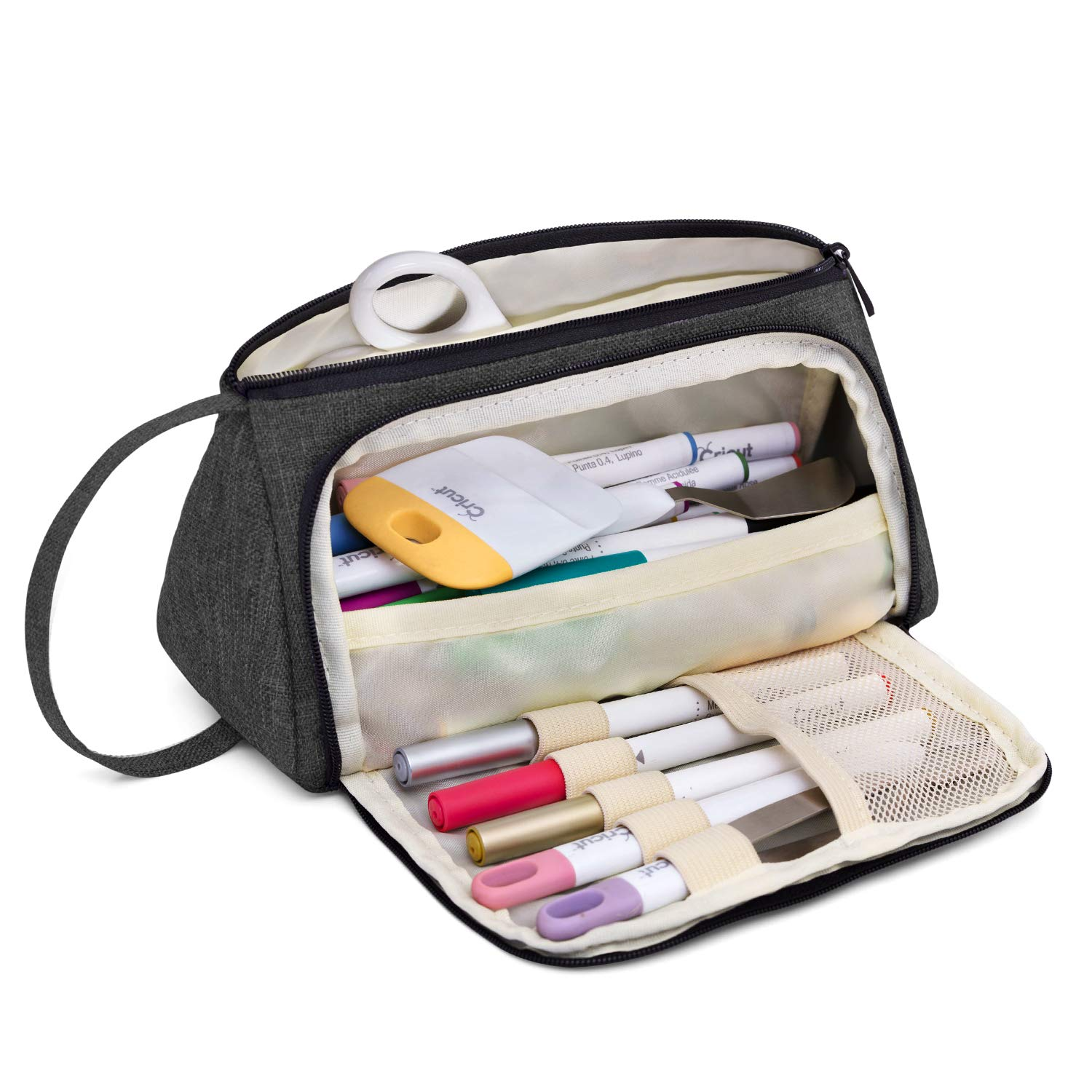 Luxja Bag for Cricut Pen Set and Basic Tools, Carrying Case for Cricut Accessories (Bag Only), Black