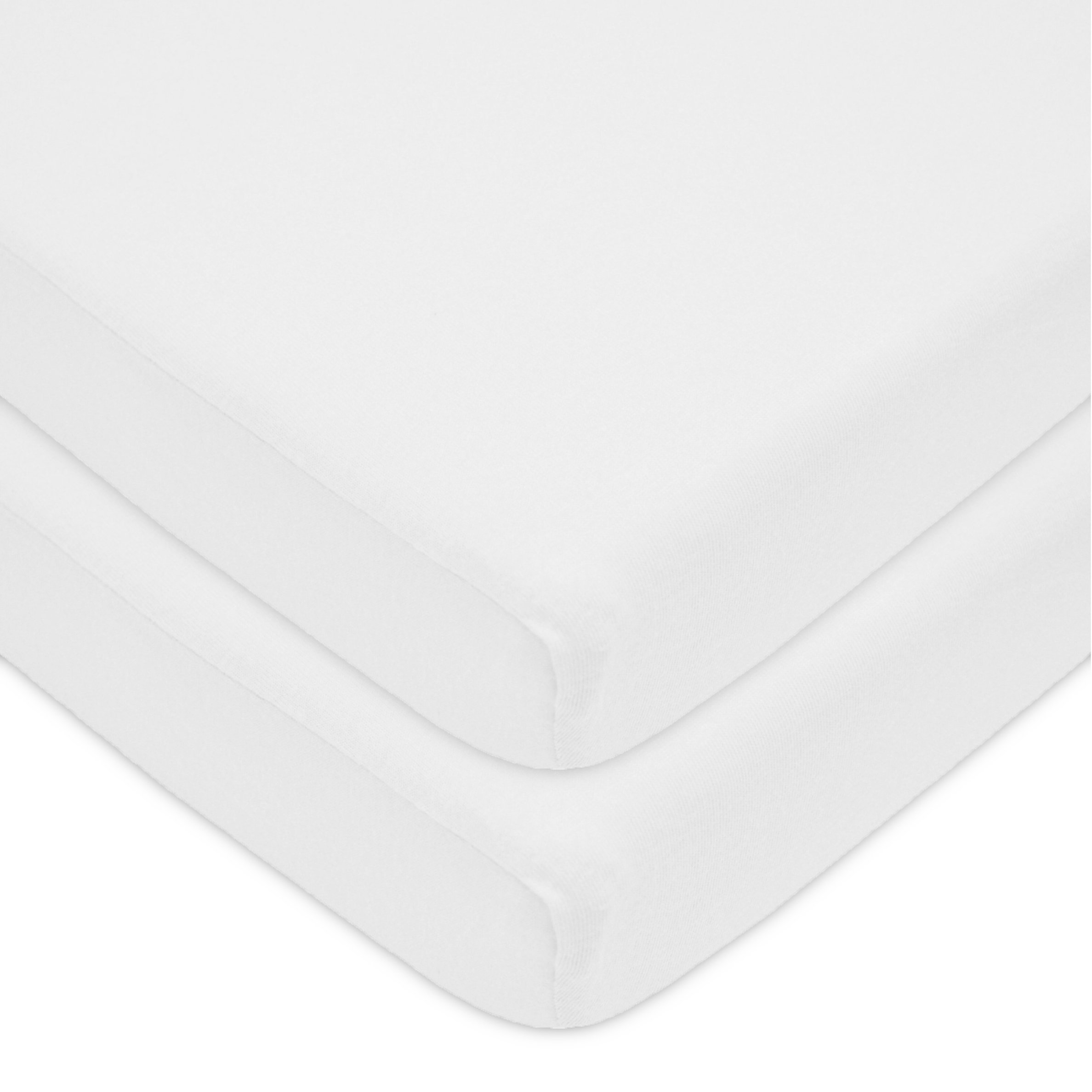 American Baby Company 100% Natural Cotton Value Jersey Knit Fitted Portable/Mini-Crib Sheet, Can be used as Medical Sheets for Neonatal Cribette, White, Soft Breathable, for Boys and Girls, Pack of 2