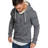 Rela Bota Mens Athletic Fashion Hoodie T-Shirts- Long Sleeve Casual Pullover Sweatshirts with Button