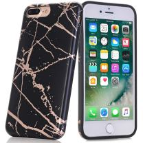 BAISRKE Shiny Rose Gold Marble Design Clear Bumper Matte TPU Soft Rubber Silicone Cover Phone Case Compatible with iPhone 7 Plus iPhone 8 Plus Black