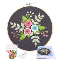 Full Range of Embroidery Starter Kit with Pattern, Kissbuty Cross Stitch Kit Including Embroidery Cloth with Floral Pattern, Bamboo Embroidery Hoop, Color Threads and Tools Kit (Colored Roses)