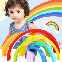 Sealive Wooden Rainbow Stacker Montessori Toys for Toddlers, Nesting Stacking Game Learning Color Shape Matching Jigsaw Puzzle, Geometry Building Blocks Educational Toys Development Gift for Kids