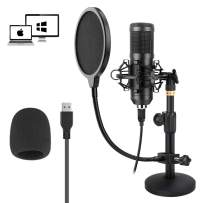 USB Microphone Kit 192KHZ/24BIT, KKUYI Professional Studio Condenser Microphone Adjustable Computer PC Mic Plug & Play for Recording Podcasting YouTube Gaming