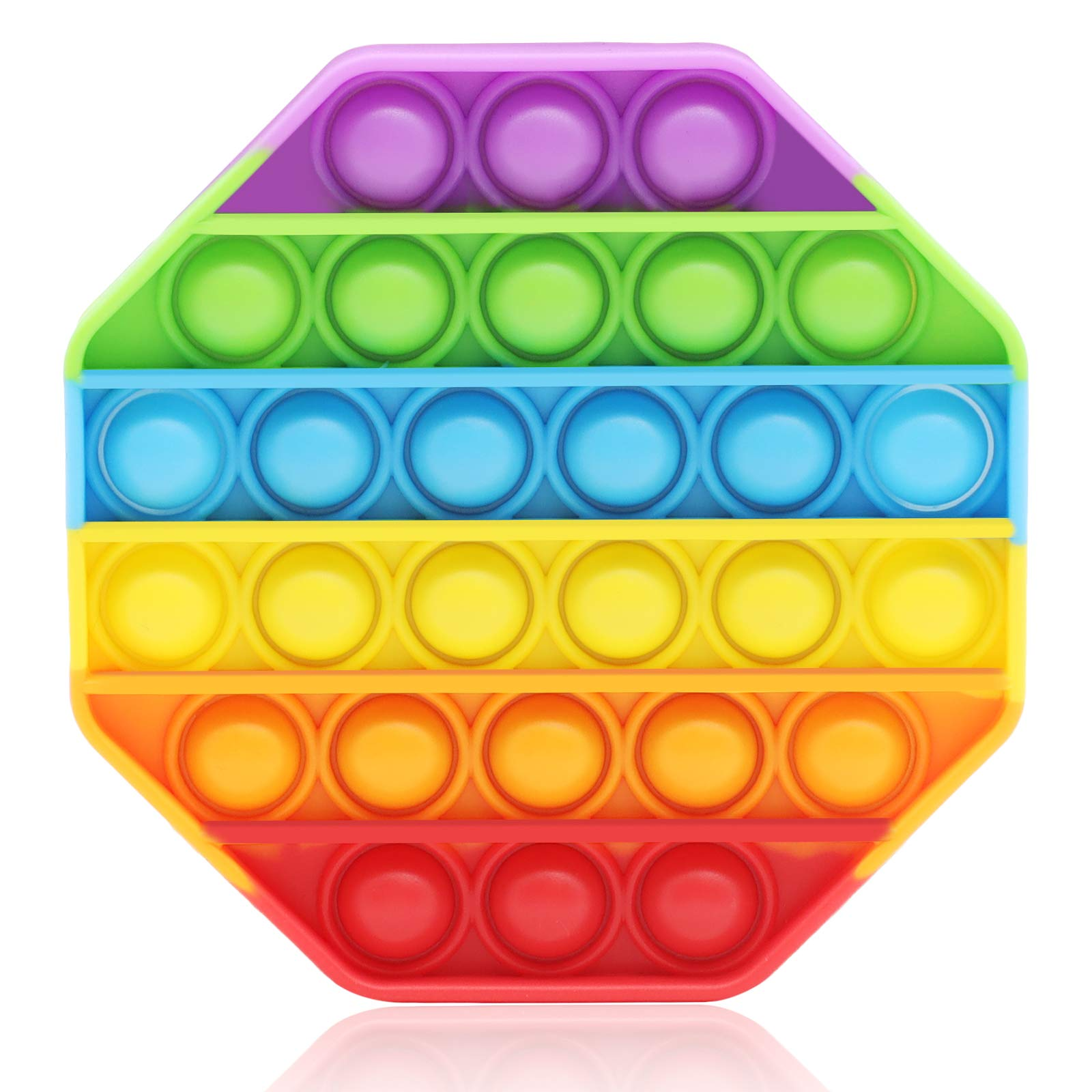 Fidget Toy Cheap Push Pop Fidget It Toy, Durable Squeeze Sensory Toy for Training Logical ThinkingSoft Silicone for Anxiety Stress (Rainbow-Octagon)