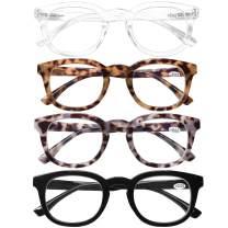 Computer Reading Glasses Blue Light Blocking -4 Pack Round Frames Anti Blue Ray Reduce Eyestrain Readers Glasses Men/Women, 3.5