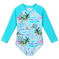 BAOHULU Girls Long Sleeve Rash Guard Swimsuits One Piece UV 50+ Bathing Suit Swim Shirt Kids Zipper Beach Swimwear