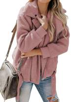 Chase Secret Womens Lapel Long Sleeve Faux Shearling Zip up Open Front Shaggy Coat with Pockets