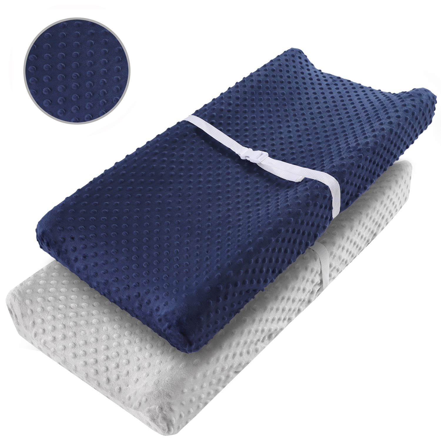 """Vextronic Changing Pad Cover Ultra Soft Minky Dots Changing Table Covers Breathable Changing Table Sheets Wipeable Changing Pad Covers Fits 32""""/34'' x 16"""" for Baby Boy and Baby Girl"""