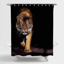 MitoVilla Prowling Indochinese Tiger Bathtub Shower Curtain with Dark Background, Most Dangerous and Mighty Predator of The World, Polyester Fabric, Gold Black, 72 x 72 inches Standard